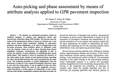 Auto-picking and phase assessment by means of attribute analysis applied to GPR pavement inspection