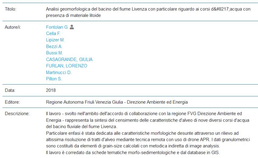 Analisi geomorfologica del bacino del fiume Livenza con particolare riguardo ai corsi d'acqua con presenza di materiale litoide