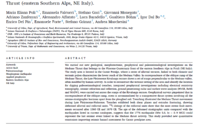 Paleoseismological evidence for historical ruptures along the Meduno Thrust (eastern Southern Alps, NE Italy)